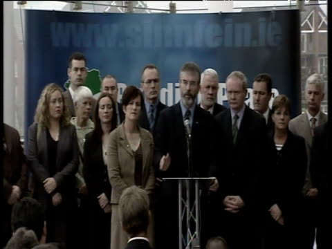 Sinn Fein leader Gerry Adams states at press conference