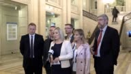 Sinn Fein's Michelle O'Neill and then DUP MEP Diane Dodds speaking at Stormont after meeting Guy Verhofstadt