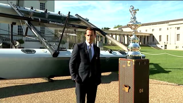 Sir Ben Ainslie posing with America's Cup ENGLAND London Greenwich PHOTOGRAPHY *** Sir Ben Ainslie posing with America's Cup trophy / 'Ben...