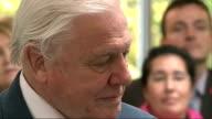 Sir David Attenborough opens new World Wildlife Foundation HQ in Woking People applaud Attenborough / Sir David Attenborough being introduced /...
