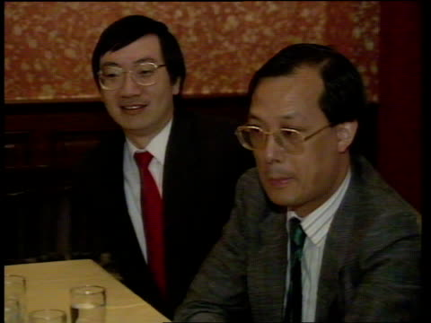 Sir Geoffrey Howe visit Day 2 Right of Abode delegation members at mtg Albert Chang Right of Abode delegation intvwd Sir Geoffrey Howe arriving for...