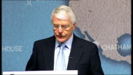 Sir John Major speech on the EU referendum government proposal ENGLAND London Chatham House INT Introduction and gvs of Sir John Major John Major...