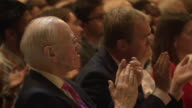 Sir Menzies Campbell and Tim Farron sit in the front row of the audience for a speech given by Vince Cable the new Liberal Democrat party leader at...