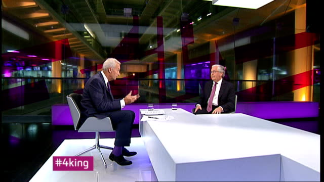 London GIR INT Sir Mervyn King LIVE STUDIO interview SOT On how long the bust will go on / wish I had a crystal ball / zig zag year / beginning to...