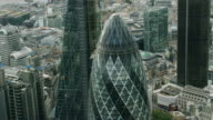 WS AERIAL POV Sir Norman Foster Building in city / London, England, United Kingdom