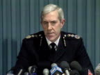 Sir Paul Condon speaks at a press conference about the danger of terrorism following the Docklands bombing by the IRA