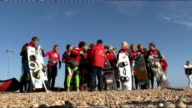 Sir Richard Branson kitesurfing at Dungeness ENGLAND Kent Dungeness EXT Sir Richard Branson speaking to press on beach SOT On safety briefing / winds...