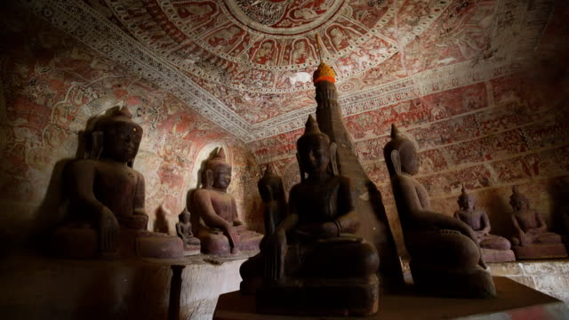 sitting buddha in Pho Win Taung Caves in Monywa, Mandalay