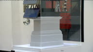 Six artworks shortlisted for Fourth Plinth at Trafalgar Square Views of shortlisted artwork / Artist Anish Kapoor posing for photocall next to his...