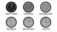 Six clock faces with hands moving through 24 hours