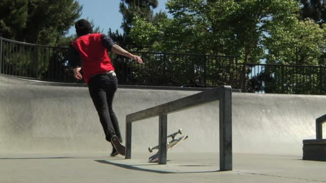 skateboarder crashes