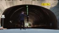 Skateboarder in Suit