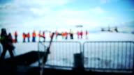 Ski center. Blurred motion.