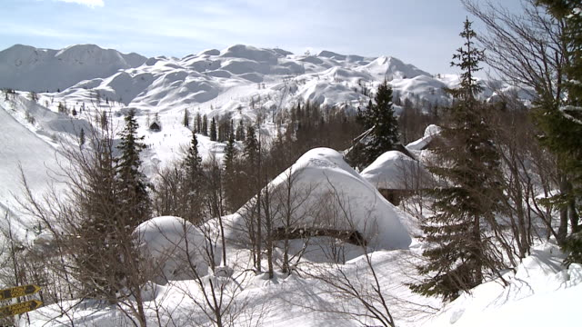 MS Ski fields and lifts on snow covering slopes / Bohinj, Triglav, Slovenia