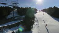 Ski lift above a ski slope.