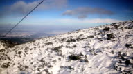 Ski lift, passenger's POV,amazing winger landscape on mountain