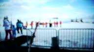 Ski resort. Blurred motion.