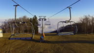 AERIAL Ski resort on a cold autumn morning