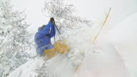SLO MO Skier jumping out of bushes in powder snow