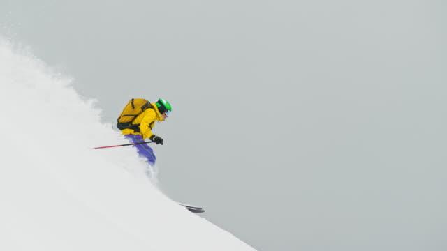 SLO MO Skier skiing off-piste