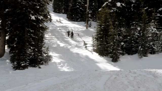 Skiers Hike Snowy Mountainside