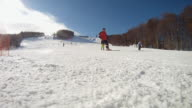 HD: Skiing On A Ski Slope
