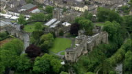 Skipton And Castle  - Aerial View - England,  North Yorkshire,  Craven District helicopter filming,  aerial video,  cineflex,  establishing shot,  United Kingdom