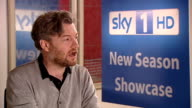 Celebrities promote new shows ENGLAND London INT Charlie Brooker interview about show 'A Touch of Cloth' SOT on show / Jimmy Carr tax avoidance John...