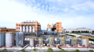 sky and panoramic view of  modern chemical factory,time lapse.