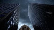Sky scrapers in heavy rain storm