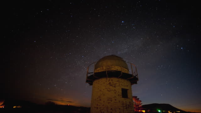 T/L WS Sky with stars and above old observatory in desert landscape at night, Landers, California, USA