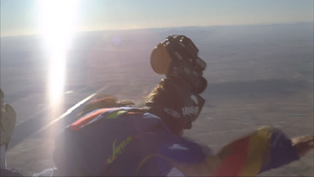 Skydiver fly's with a camera helmet.