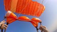 POV Skydiver handling the parachute