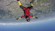 Skydiver perform acrobatic moves in freefall