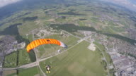 Skydiver with open parachute