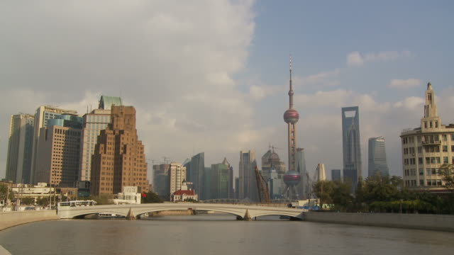 Skyine of Shanghai China with river