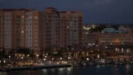 Skyline and port nighttime scenics in San Juan Puerto Rico on Monday Feb 10 Wide shot of the skyline with hotels and residential buildings Wide shot...