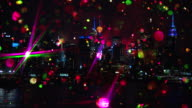 Skyline Cityscape New York City with colored glitter and fireworks