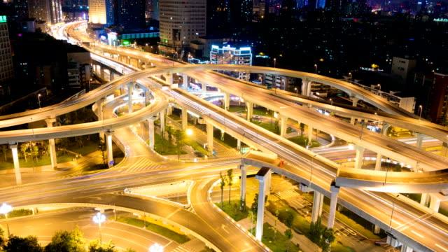Skyline modern city and traffic Chengdu day to night, timelapse.