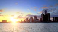 Skyline of Detroit, MI during sunset