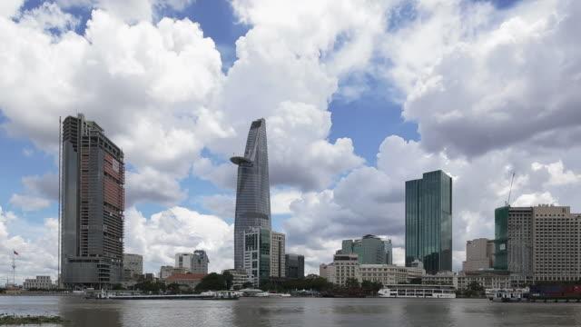 WS T/L Skyline of Ho Chi Minh City and Cumulonimbus cloud / Ho Chi Minh City, Vietnam