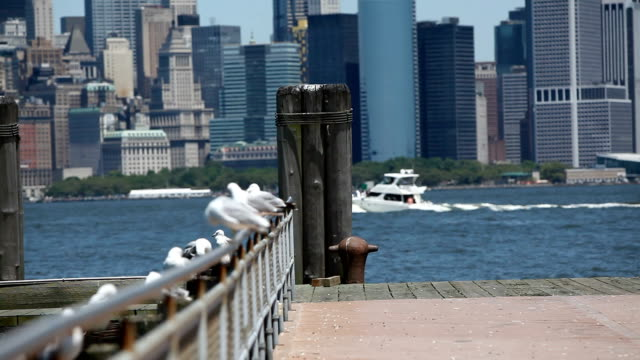 Skyline of Lower Manhattan with Hudson River,HD 1080p