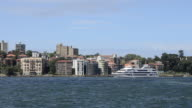 Skyline of North Sydney Australia with cruise ship and homes in New South Wales