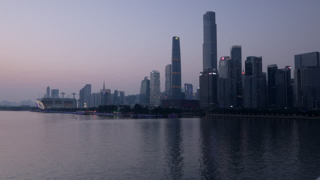 Skyline of Tianhe at sunset, Guangzhou, Guangdong, China, Asia