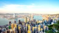 skyline und Wahrzeichen Gebäude der modernen Stadt, hong kong.timelapse.