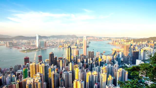 skyline, office buildings and landmark of modern city,hong kong.timelapse.