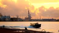 Skyline Rotterdam Industy at sunset
