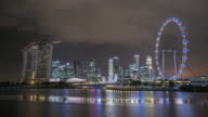 WS T/L Skyline showing Marina Bay Sands and Flyer at night during light show / Singapore