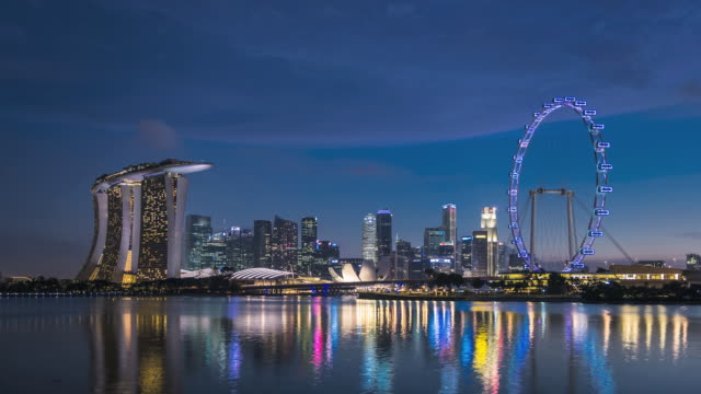 WS T/L skyline showing Marina Bay Sands and Flyer / Singapore