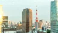 Timelapse tramonto di Skyline Torre di Tokyo
